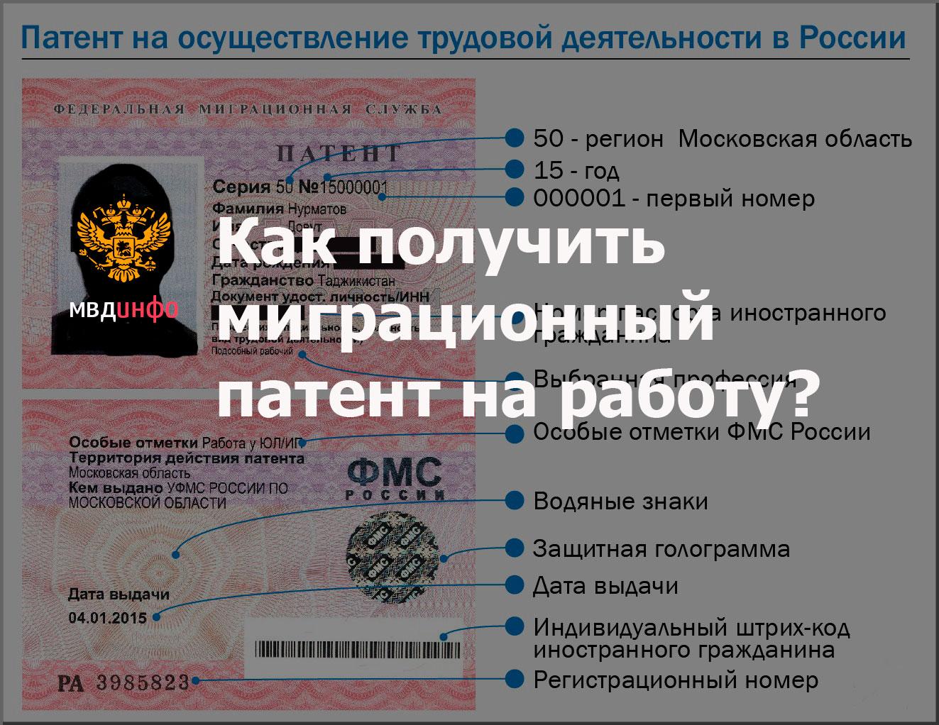 Как получить миграционный патент на работу?
